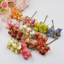 Wholesale 60pcs Silk Rose Tea Bud Bride Artificial Flowers For Wedding Party Home Room Hats Shoes Decoration DIY Marriage Wreath