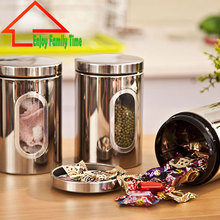 Free Shipping Stainless Steel Kitchen Storage Containers Very Good Quality Vacuum Tea Caddy Translucent Food Jar Three A Set(China)