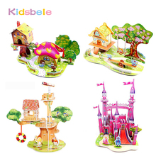 3D Puzzle Jigsaw Baby DIY Toy Early Learning Castle Cartoon Pattern Gift Assembling Toys For Children Jouet Educational Toys(China)