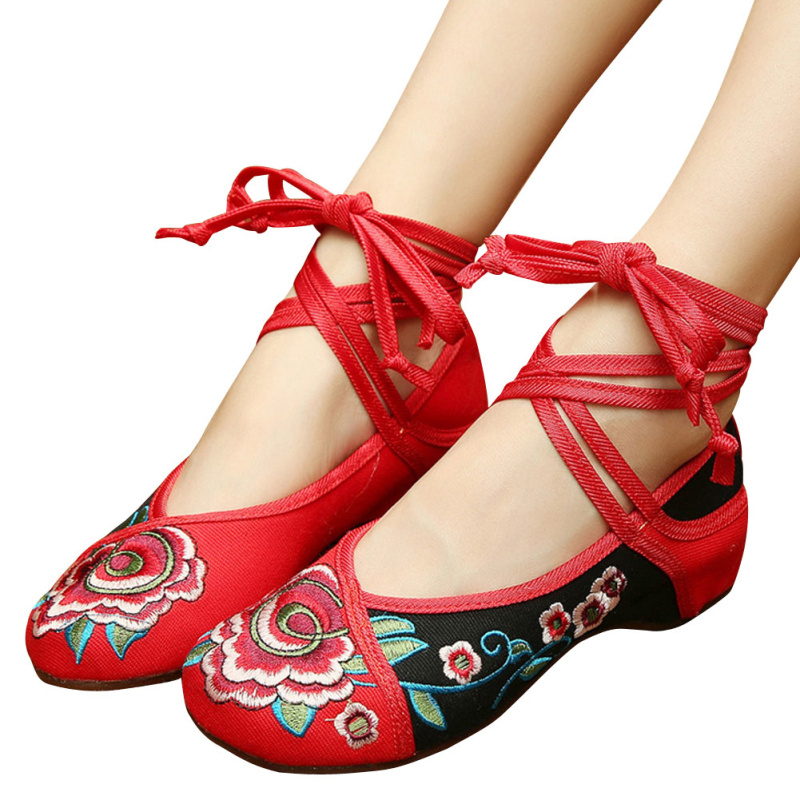 Old Beijing Embroidered Women Shoes Cross-tied Mary Jane Flat Heel Shoes Chinese Style Casual Cloth Shoes Woman WS180<br><br>Aliexpress
