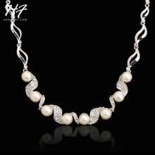 Top Quality Imitation Pearl Wedding Necklace Sliver Color Fashion Jewellery Pendant Crystal N256 N255