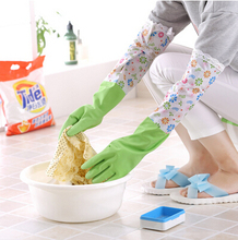 Latex Long Floral Rubber Cleaning Gloves Dish Washing Household Kitchen Thicken Durable Velcro / Elastic 52CM