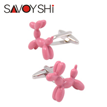 2 Colors Balloon Dog Cufflinks For Mens Cuff bottons High Quality Pink Blue Paint Cufflink Fashion SAVOYSHI Brand Jewelry Design
