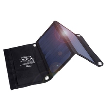 Foldable Portable Solar Panel 14W 5V/2A 22% Efficiency Two USB Sun Power Solar Battery Panel Power Supply Charger Bag Pad(China)