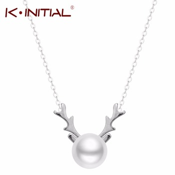 1Pcs 925 sterling Silver Deer Antlers Necklace Deers Horn Necklaces for Women Fashion Chain Jewelry Pearl Necklaces & Pendant