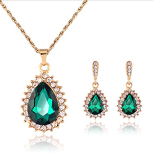 Fashion rose gold color inlay green AAA zirconia Jewelry sets wedding Pendants Necklaces+earrings for women free shipping MIN07