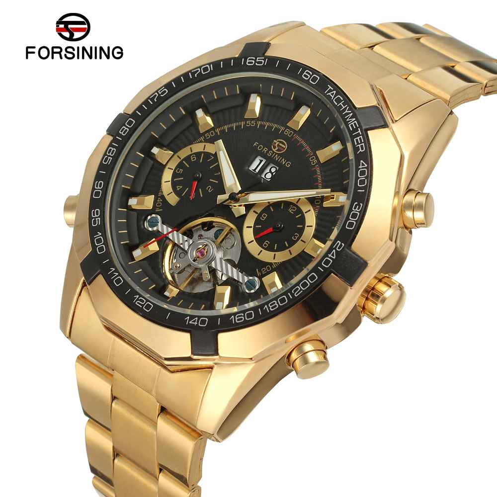 FORSINING Luxury Golden Men Auto Mechanical Watches 3D Design Stainless Steel Tourbillion Sub-dial Multi-function WINNER WATCH<br>