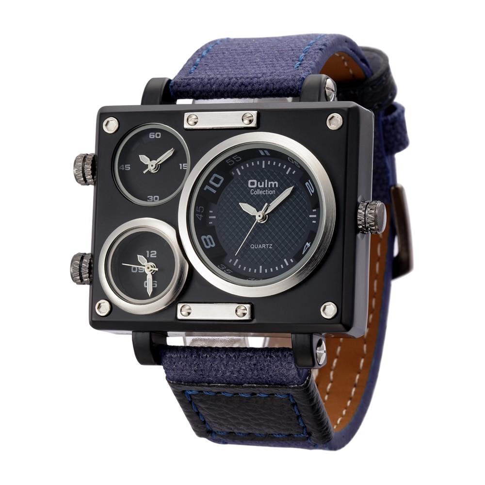 Oulm Brand Square Watch Male Quartz Clock Multiple Time Zones Unique Design Watches Men Casual Leather Strap Military Wristwatch<br><br>Aliexpress