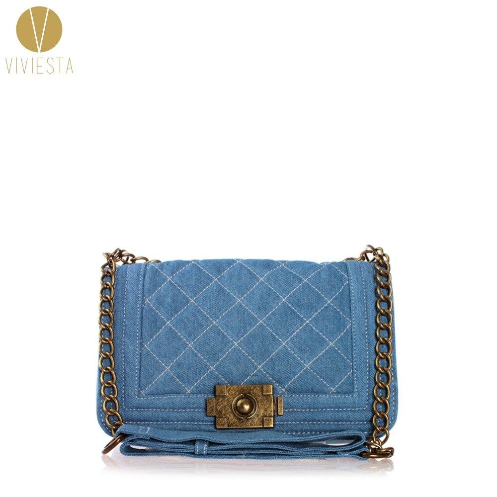 DENIM VINTAGE QUILTED ACROSS BAG - Womens Blue Jean Plaid Stylish Brand Fashion Flap Chain Crossbody Shoulder Bag Purse Handbag<br>