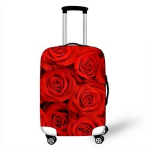 18 - 28 Inch 3D Rose Floral Print Luggage Protective Covers Elastic Suitcase Cover Travel Luggage Cover Dust Protection Covers