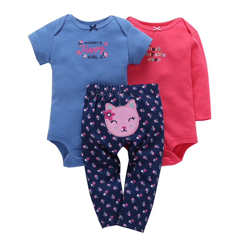 newbron baby girl clothes cotton 2pcs romper+pant clothing set for 2018 spring 0-24m infant baby girl outfits cute cat pattern