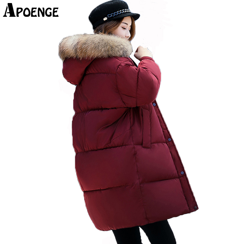 APOENGE Women Winter Coat 2017 Parka Mujer New Warm Thick Long Hooded Jacket With Fur Collar Batwing Sleeve Winter Jacket QN618Îäåæäà è àêñåññóàðû<br><br>