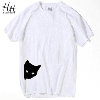 HanHent 2017 Primavera Novos Homens Chegada do Verão T-shirt Da Forma Anime Black gato Top Tees Solta O-pescoço Estilo Dos Ganhos T camisa de Manga Curta