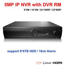 32CH IP DVR 8*6TB HDD with DVR RM NVR 8*5M/16*3M/24*1080P/32*960P NVR HDMI ONVIF P2P network 32 Channel Network video recorder(China)