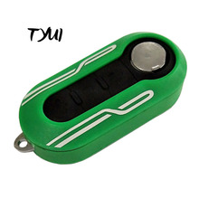 Green Car Flip Remote Key Shell Fob For Fiat 500 Key Replacements