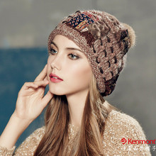 Kenmont Autumn Winter Warm Women Girl Lady Jacquard Hand Knit Beanie Cap Rabbit Fur Hair Ball Ski Cap 1635