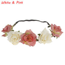 Beautiful Bride Women Rose Flower Crown Hairband Wedding Flower Headband Garland Festival Flower wreath Elastic Hair Accessories