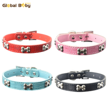 (50 Pieces/lot) Free Shipping New Arrival Gator PU Leather Pet Dog Bone Collar Pet Product Supplier(China)