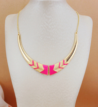 Xl193  New Fashion Black Pink neon color Short female collar necklace For Women  maxi necklace
