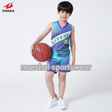 Double mesh basketball jersey for kids/boys,OEM your own design,Comfortable polyester,OEM player's name and number