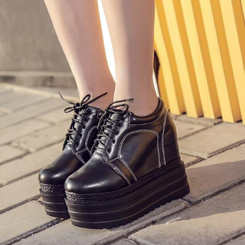 punk boots for women wedge boots high heels motorcycle spring lace up boots women thick heel ankle boots platform shoes D1014<br>