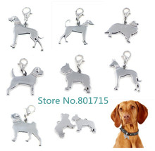 Silver Dog charm pendant with Lobster clasp dangle charms For Key Chain pet collar DIY Jewelry making(China)