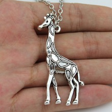 "2016 New Hot Sell Women Jewelry Vintage Silver Giraffe Pendant Necklace 26"" For girl Kids gift Wholesale Free Shipping ED4434"