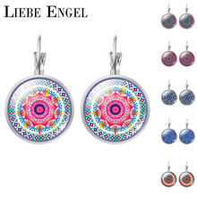 LIEBE ENGEL Vintage Silver Color Jewelry Mandala Earrings Henna Stud Earrings OM Symbol Buddhism Zen Online Shopping India 2017(China)