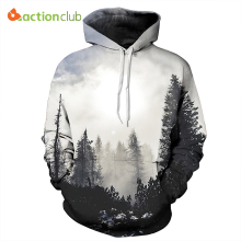 ACTIONCLUB 2017 Spring New Fashion Mens Hoodies And Sweatshirts 3D Print Trees Forest Simple Coat HipHop Coats Casual Sportswear(China)