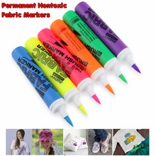 6Pcs Premium Quality Permanent Non-toxic Fabric Markers Marvy Color Fabric Paint Art Marker Pens For Fabrics T Shirts Clothes