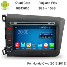 1024*600 Car DVD Player For Honda CIVIC 2012 2013 Pure Android 5.1.1 Quad Core 3G WIFI Radio GPS Navigation System Multimedia