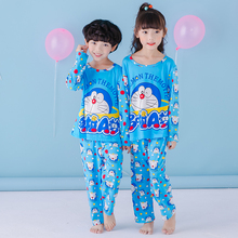 2017 new boys pajamas blue pyjamas kids sleepwear Double milk silk fabric sleep wear set cute cat sleep shirt girl long pants