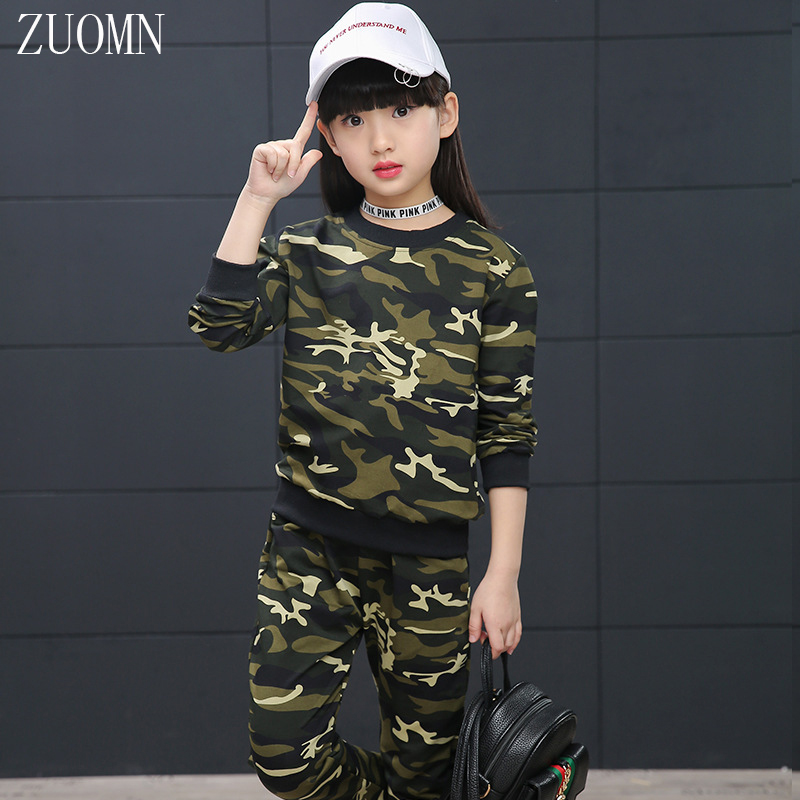 Children Girls Sports Clothing Suits Sets Kids Camouflage Cuhk Two-piece Sportswear Tracksuits Graffiti Teenage Clothing YL486 <br>