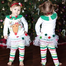 Retail Free shipping 2017 New Children's Wear Girls Autumn Christmas Reindeer T-shirt + Tutu striped suit pants(China)
