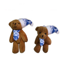 2pcs/lot, H=8cm, W=10G,brown,  Plush Christmas joint bear with Christmas hat, Christmas tree pendent, Stuffed teddy bear,  t