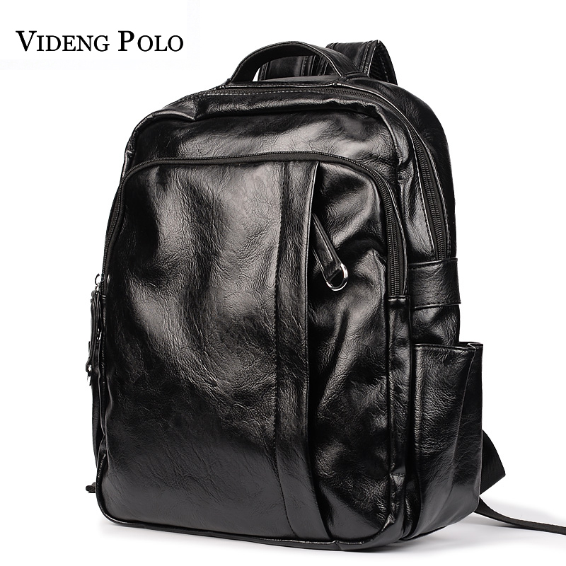 VIDENG POLO Fashion Preppy Style Men Backpack High Quality Leather Double Shoulder Bags Casual School Bag Man Travel Rucksack<br>