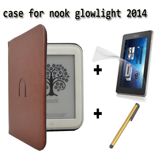 leather cover case for barnes Noble nook simple touch 2 3  nook2 nook3/for nook glowlight +screen protector +Stylus Pen<br><br>Aliexpress