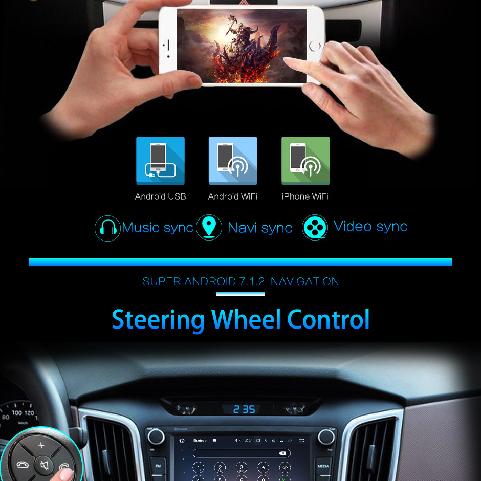 Quad Core 2GB RAM 16GB ROM Android 7.1.2 Car Radio Audio Stereo Touch Screen Bluetooth MP3 MP4 for Volkswagen Sagitar 2012-2014