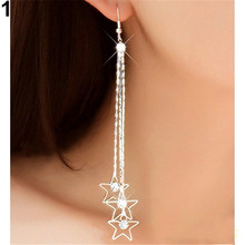 1 pair Popular Women's Pentacle Rhinestone Drop 3 Layers Chain Long Tassels Dangle Linear Earrings Super Sale Shinny