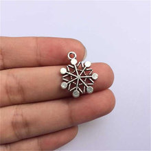 Vintage Christmas Decorations Snow Hand Made Charms Pendants For Necklace Wedding Gift 20x16mm 30pcs T219 Lead Nickel free