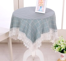 New Large Plaid Cloth Square Tablecloths Waterproof Oilproof Tablecover Pastoral Style Lace Bedside Cabinet Cover Dust Covers