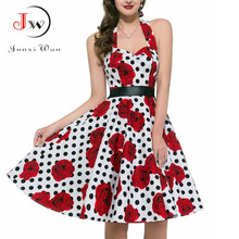 Buy 2017 Women Polka Dot Dress Big Swing Vestidos Retro Robe Casual Prom Rockabilly Party Dress 50s 60s Pinup Vintage Dresses for $8.83 in AliExpress store