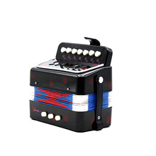New D'Luca Child Button Toy Accordion black blue red /7 Keys + 3 Buttons Children Kids Button Toy Accordion(China)