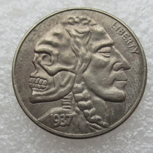 BU(10)Hobo Nickel 1937-D 3-Eggled Buffalo Nickel Rare skull Zombie Skeleton Two Face Copy High Quality