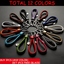 BUY 3 GET 1 FREE Leisure PU Leather Strap Keychain Hand Weaved Rope Key Chain Key Holder Key Ring Bag Charm TMDA024GUN