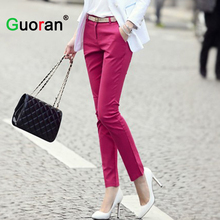 {Guoran} women formal office work pants 5 colors plus size ladies pencil pants black OL fashion black white khaki trousers(China)
