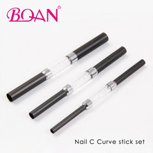 Free Shipping 1 Set 3 Pcs Black Metal Nail Shaper Rods Different Sizes Nail C Curve Stick Set