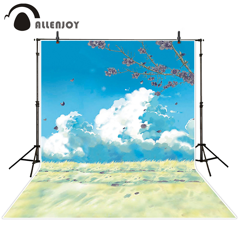 Allenjoy photographic background Videos meadow sky cloud backdrops newborn wedding photo Send rolled 8 x 8 ft<br><br>Aliexpress