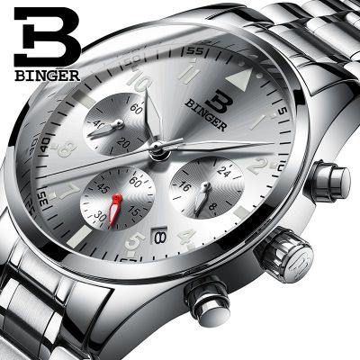Binger Chronograph Casual Watch Men Luxury Brand Quartz Military Sport Watches Genuine Leather Man Wristwatch relogio masculino<br>