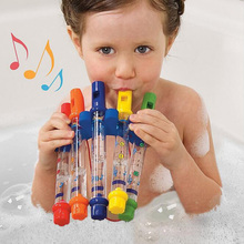 5Pcs/1 Row Water Flute Toy Kids Children Colorful Water Flutes Bath Tub Tunes Toys Fun Music Sounds Baby Shower Bath Toy(China)